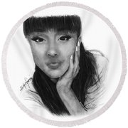 Ariana Grande Drawing By Sofia Furniel Round Beach Towel