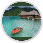 Tahitian Boat Round Beach Towel