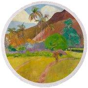 Tahitian Landscape, 1891.  Round Beach Towel