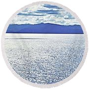 Tahoe From The East Shore Round Beach Towel