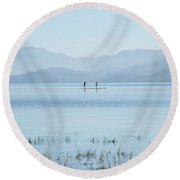 Tahoe Paddle Boarders Round Beach Towel