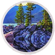 Tahoe Water Reflections Round Beach Towel