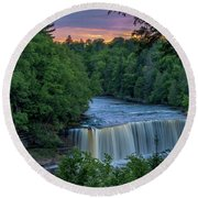 Tahquamenon Falls Sunset. Round Beach Towel