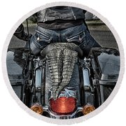 Tail Of The Dragon  Human Interest Art By Kaylyn Franks.  Round Beach Towel
