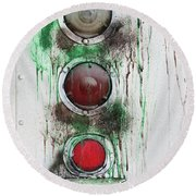 Round Beach Towel featuring the photograph Taillights On A Very Old Bus by Gary Slawsky