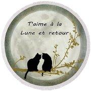 Round Beach Towel featuring the digital art T'aime A La Lune Et Retour by Linda Lees