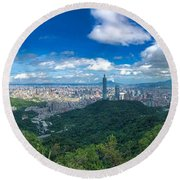 Round Beach Towel featuring the photograph Taipei Panorama by Brian Eberly