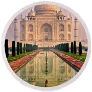 Taj Mahal At Sunrise Round Beach Towel by Luciano Mortula