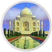Taj Mahal Morning Round Beach Towel