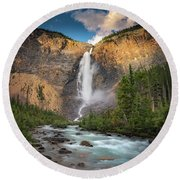 Round Beach Towel featuring the photograph Takakkaw Falls Of Yoho National Park by William Lee