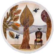 Take A Rest In Autumn Round Beach Towel