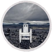 Round Beach Towel featuring the photograph Take A Seat Iceland by Edward Fielding
