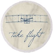 Take Flight Round Beach Towel by Brandi Fitzgerald