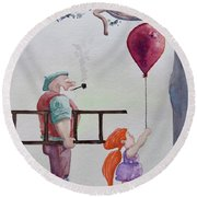 Round Beach Towel featuring the painting Take It Please by Geni Gorani