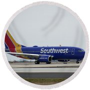 Take Off Southwest Airlines N7878a Hartsfield-jackson Atlanta International Airport Art Round Beach Towel