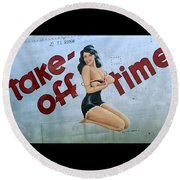 Round Beach Towel featuring the photograph Take-off Time by Kathy Barney