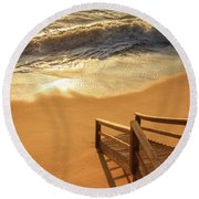 Take The Stairs To The Waves Round Beach Towel