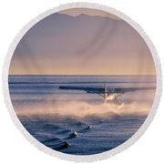 Takeoff Into The Light Round Beach Towel