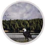 Round Beach Towel featuring the photograph Taking A Break As Evening Falls by Diane Schuster
