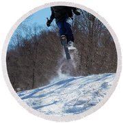 Round Beach Towel featuring the photograph Taking Air On Mccauley Mountain by David Patterson