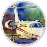 Round Beach Towel featuring the painting Taking Flight by Andrew King
