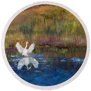 Round Beach Towel featuring the painting Taking Flight by Michael Helfen