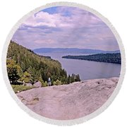 Round Beach Towel featuring the photograph Taking It In  by Lynda Lehmann