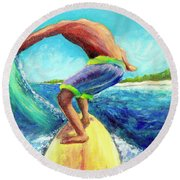 Taking Off Round Beach Towel by Patricia Piffath