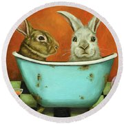 Tale Of Two Bunnies Round Beach Towel by Leah Saulnier The Painting Maniac
