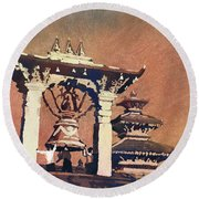 Round Beach Towel featuring the painting Taleju Bell- Patan, Nepal by Ryan Fox