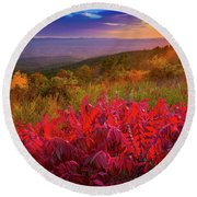 Talimena Evening Round Beach Towel