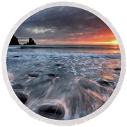 Talisker Bay Rocky Sunset Round Beach Towel