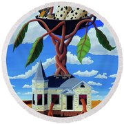 Round Beach Towel featuring the painting Talk Of The Town by Paxton Mobley