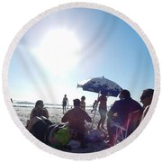 Round Beach Towel featuring the photograph Talking About Life by Beto Machado