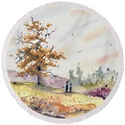 Round Beach Towel featuring the painting Talking To Dad by Sam Sidders
