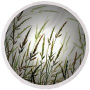 Round Beach Towel featuring the digital art Tall Grass And Sunlight by James Williamson