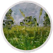 Round Beach Towel featuring the painting Tall Grass by Judith Rhue