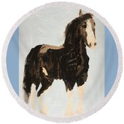 Round Beach Towel featuring the painting Tall Horse by Donald J Ryker III