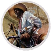 Tall In The Saddle Cowboy Pride 1a Round Beach Towel