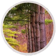 Tall Pines Standing Guard Round Beach Towel