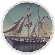 Tall Ship - 4 Round Beach Towel
