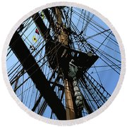 Round Beach Towel featuring the digital art Tall Ship Design By John Foster Dyess by John Dyess