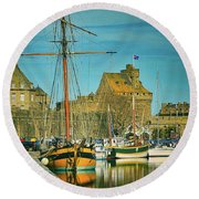 Tall Ship In Saint Malo Round Beach Towel