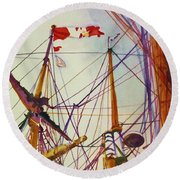 Tall Ship Lines Round Beach Towel