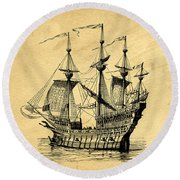 Round Beach Towel featuring the drawing Tall Ship Vintage by Edward Fielding