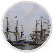 Historic Tall Ships Hermione And Sagres Round Beach Towel