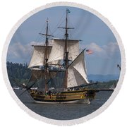 Tall Ships Square Off Round Beach Towel