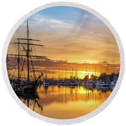 Tall Ships Sunset 1 Round Beach Towel by Greg Nyquist