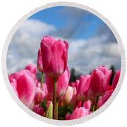 Tall Standing Tulip Round Beach Towel