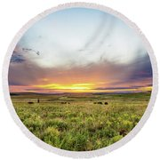 Tallgrass Prairie - Incredible Sunset Over Open Plains In Oklahoma Round Beach Towel